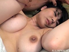 Well-endowed Japanese milf Mikoto Tsukawa is having fun with two guys in a bedroom. She shows her handjob and titjob skills and then gets her pussy pounded from behind.