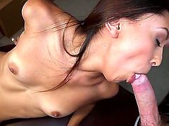 Young cute brunettes Gisele Mona and Serena Torres with natural perky boobs and slim sexy bodies lick each other tight shaved honey pots and share stiff cock in close up.