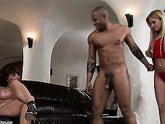 Blonde Aletta Ocean with massive breasts and Bibi Noel spend their sexual energy together