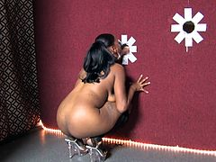 She is a charming ebony that loves some adventurous sex. Today she is going to own that huge cock out of a gloryhole. Nice action!