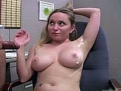 Have a look at this hot fetish scene in an office where the busty blonde Aiden Starr plays with this guy's cock before he ends up cumming on her armpit.