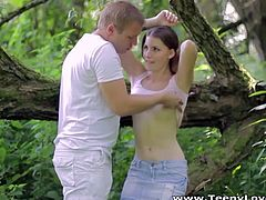 Zlata and her boyfriend take a romantic walk through the forest that doesn't end fast. They make a pit stop to consume their passion by having intense sex.
