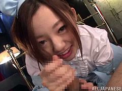 Ever had a fantasy involving a girl dressed in a servant´s uniform? This girl not only pours coffee, but she is also good at ´´filling your cup´´. Once she´s entered her role, the Asian slutty babe will lick ass and balls with frenzy and dedication. Click now for the whole picture of an unforgettable blowjob!