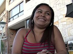 After having a few drinks at a nice terrace, this chubby Latin babe Lorena Lobos is taken is a hotel room and fucked. The guy who's fucking her has the camera on.