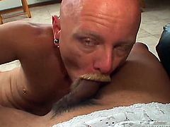 Light haired transsexual with nice boobs gets her dick sucked and gets her asshole banged hard. Have a look at this whore in Fame Digital sex video.