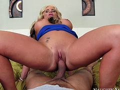 Well endowed stud Karlo Karrera is lucky for this ones 'cuz professional blonde whore gives him deepthroat blowjob and rides his cock face to face.