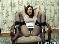 Captivating Japanese chick Hikari Matsush wearing pantyhose shows her big natural boobs to some guys and lets them knead them. Then the dudes finger Hikari's snatch and drill it with a vibrator.