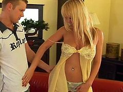 Horny blonde Anastacia Christ is trying hard to please her man. She lets the dude fuck her mouth, pussy and asshole and then shows him her titfucking skills.