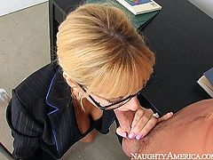 You are crazy,dude, if you are gong to skip this exciting sex tube video produced by Naughty America porn site. Seductive blonde babe seduces young guy and gives him eager blowjob in the office.
