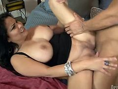 Black haired seductive hooker lied in bed with her legs spread apart. Her horny tattooed guy gave her hot cunnilingus. Then this busty bitch got fucked in sideways style. Take a look at this hot copulation in Fame Digital porn video!