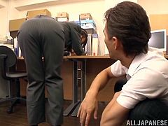 This Japanese woman is a sex addict. She needs to be satisfied several times a day. Her colleague makes her cum right in an office. He takes her pants off and makes a hole in pantyhose. Ki gets fingered and toyed from behind.