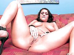 Charley Chase with massive melons and trimmed cunt puts on a solo show you must see