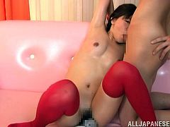 Petite Japanese chick Mei wearing stockings shows her twat to a few dudes and lets them stimulate it with many massage dildos.