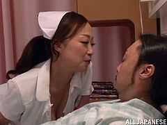 A nasty ass fuckin' Japanese babe sucks on a dude's hard dick and then takes it in her dripping wet pussy, check it out right here!