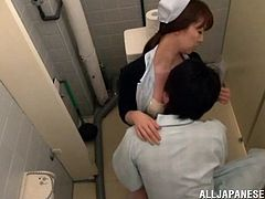 This guy is up to no good! He asks his nurse to help him use the toilet but after entering the restroom she takes a bottle of wine he hided in there. A drink or two and the guy now wants some pussy so this hot Japanese nurse seems to be the perfect occasion. He licks her tits, fingers her cunt and then gets sucked