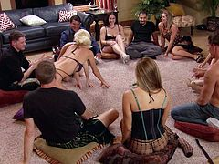 Some couples prefer to break the monotony and routine in their sex life. The solution comes in handy when they set up meetings to share together special kinky moments. The wives are wearing sexy outfits and are open to do everything! The group chats for a while and after that they get to serious business. Watch!