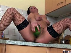 Insatiable chubby woman in black fishnets sits on table in kitchen and pleases her thirsting kitty with a bottle. Later her torrid filthy kooky fisted her hard right away.Have a look at that dirty lesbian fuck in Porn XN sex video!