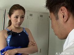 Beautiful Asami Ogawa gives a nice blowjob to some lucky guy in the locker room. Then this Asian babe gets her pussy fucked from behind.