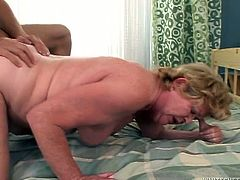 Having sucked the staff cock of that young freak in a proper manner, that lusty old whore deserved her hungry fat twat be banged in doggy and mish positions.Watch this fat ugly granny fucking in Fame Digital porn video!