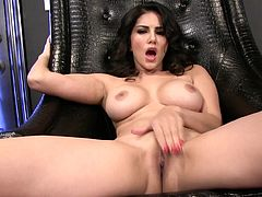 Alluring brunette with staggering forms in one dazzling solo action