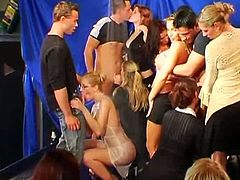 Drunk Sex Orgy brings you a hell of a free porn video where you can see how these naughty sexy sluts suck hard cocks at a naughty club orgy while assuming very hot poses.