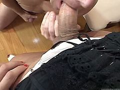 Dumpy brunette shemale in white thongs got her tiny unerrected cock sucked ardently by her bald head feverish freak. Have a look at this amazing TS copulation in Fame Digital porn video!
