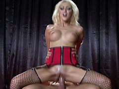 Hit play and watch this smoking hot blonde babe suck on a raging boner and take it scrotum deep into her fuckin' gash, check it out right here!