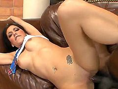 Horny homie Tee Reel whips out his massive black dong and lays waste to Nikki Vee and her extra small twat after a passionate deep throat blowjob.
