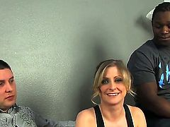 White dude stares at his naughty wife Katie Kox having wild pounding with black stranger. The chick looks cool and she is fond of pounding. Now she gets nailed by chocolate dude.