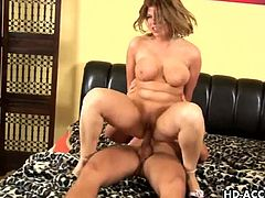 Cornelia is a curvy milf with huge natural boobs. She has a wild fuck, as wild as the level of lust that she has for cock. She rides like a veritable cowgirl.
