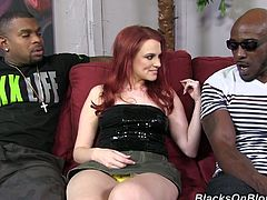 It's Andrea's first time with a black guy and she won't soon forget it since she had one black dick in her pussy and one in her ass.