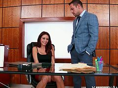 Naughty secretary spreads her buttocks and her welcoming hole is ready for heavy pounding. Go for the top rated sex tube video produced by Naughty America porn site.