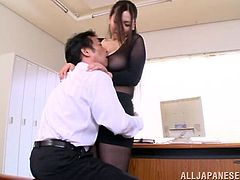 Curvy Japanese secretary Sayuki Kanno wearing a nylon bodystocking is having fun with her boss. She pleases the guy with a titjob and then they fuck in cowgirl and other positions.