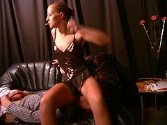 Her boss harassed her in the job so she decide to give him revenge. She is in fem dom clothing and she sits on his face