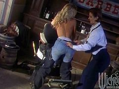 Have fun with this vintage video where these horny ladies make you pop a boner as they please each other in a lesbian scene.