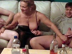 This crazy Mature lady is going to be having a party with two men at a time. But the real party is starting in a wild threesome.