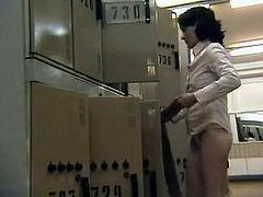 Dirty voyeur likes to watch this lady changing in her swimming suit through his hidden cam placed in the locker