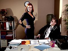 Some mums search for quick and hot thrills. This milf has put her eyes on her daughter's boyfriend. The slim redhead milf wants the forbidden fruit. The guy breaks the rule and kisses the bitch and helps her to undress. Watch her spreading her legs on the desk while her pussy is rubbed and licked...