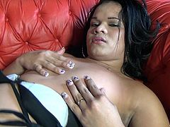This sexy transsexual slut want to put on a show for you. She takes off her top to reveal her sweet, small breasts. Watch as she takes off her panties and wanks off hard and fast for all to see. Will she cum for us?