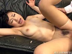 Sexy Japanese pornstar is having so much fun in this threesome action. Honey jumps one one, while the other one fucks her in a doggy style.