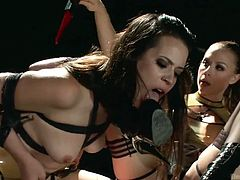 If you prefer sadistic sluts, you'll definitely wanna watch these two lesbians getting wild! They sit on a desk, kiss and get closer. The submissive lady licks her mistress's pussy while her arms are tied up at her back. She is also requested to lick the black high-heeled boots. Click to see all the spicy details