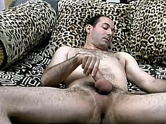 A kinky dark-haired dude jerks his cock off in the living room. Then he goes to the bathroom and takes a shower there.