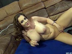 This stunning brunette has incredibly big, plump breasts. Sex-starved babe lifts her legs up indicating how bad she wants her lover to lick her pussy. Horny dude licks her twat like a true pussy eater. Then he fucks her tight snatch in missionary position.