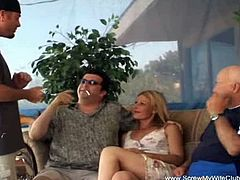 This blonde wife got her ass cracked open by a stranger while her husband and another dude were watching. This guy couldn't be more satisfied than fill her up with his spunk.