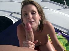 Captain Stabbin brings you a hell of a free porn video where you can see how the nasty blonde Courtney Cummz rides a hard cock pov style on a yacht til she cums.