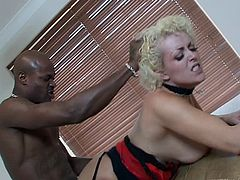 This fuckin' hot ass slut right here sucks on a hard black cock and takes it up her motherfuckin' gash, check it out right here!