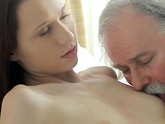 Skinny gal seems to like having old male's cock pounding her cunt