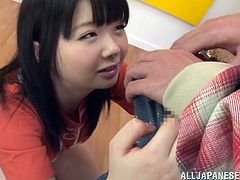 At the first sight, we may say about this brunette cutie that she's just an innocent, naive Nippon girl but there's more than meets the eyes! This naughty little bitch is a cock addicted one and she pulls down the guy's boxer to do what she enjoys most, slurp cock! Damn, look at her handling that hard penis!