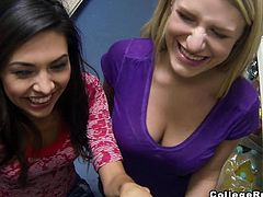 Two teen girls went out shopping. While visiting the shop´s stands, they begin undressing, showing their butts and their tits at the camera, smiling. The little sluts look very excited, when they get to share a cock.