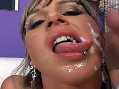 With so many loads on her face, blondie moans like a dirty slut